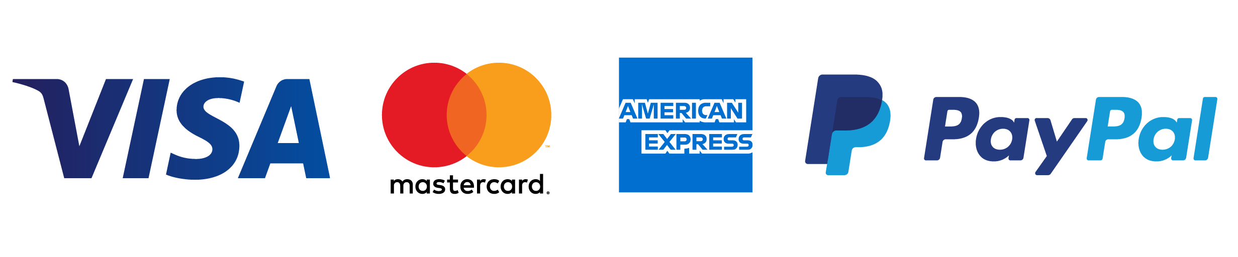 We accept VISA, Mastercard, American Express via PayPal